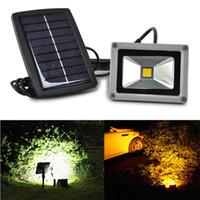 açık bahçe aydınlatma 12v toptan satış-Promosyon 10 W Güneş Enerjisi LED Sel Gece Işık Su Geçirmez Açık Bahçe Dekorasyon Peyzaj Spot Duvar Lambası Ampul