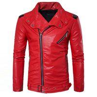 erkek deri ceketleri toptan satış-Toptan Satış - Manvelous Erkek Faux Deri Ceket Moda Casual Uzun Kollu Yaka Katı Kalın Erkek Ceket Siyah Kırmızı Renk İnce Süet Erkek Giyim