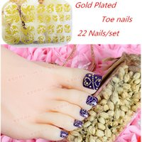 10sets New Glitter Pied plaqué or Toe Nails + Mix Designs Nail Art Décoration Stickers Wraps Pieds bricolage Caretools KMOTJ01-16