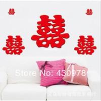 duvar için çince çıkartmaları toptan satış-QZ1128 Ücretsiz Kargo 2adet Çin Festivali Weeding Double Happiness Çıkarılabilir PVC Wall Stickers Fancy Ev Dekorasyon Hediye Bless
