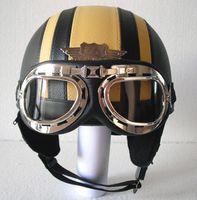 Wholesale Helmet Bol - Wholesale-TOP Quality Leather Bol Scooter Motorcycle Helmet Half Face Casco Black & Red Stripe Helmet & UV Colour Goggles Adult S M