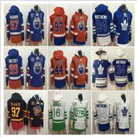 ingrosso foglia di acero bianco-2018 Winter Men Toronto Maple Leafs 16 Mitch Marner Felpa con cappuccio cucita Edmonton Oilers 29 Leon Draisaitl Felpa con cappuccio Jersey Arancione Blu Bianco