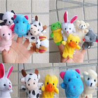 Wholesale Cheapest Stuffed Animals - Wholesale-Cheapest 7cm Cartoon Plush Puppets Hand Fingers Toy Pure Cotton Mix Styles Animal Hobbies Doll Stuffed Educational Toy TY034