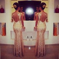 Wholesale Elegant Maternity Wear - 2015 Champagne Evening Dresses One Sleeve Long Sequins Evening Gowns Elegant Mermaid Formal Dress Party Evening Gowns New Arrival