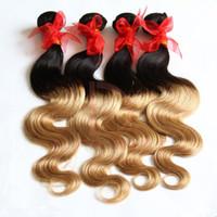 Wholesale Remy Wavy Braiding Hair - Two Tone Ombre Weft Hair Braiding Extension 7A Brazilian Remy Virgin Hair Body Wave Unprocessed Wavy Brazilian Human Hair Weave 300g Bundles