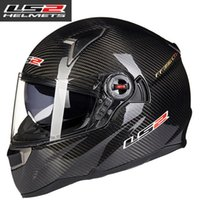 Wholesale Motorcycle Helmet Ls2 Carbon - wholesale 2016 new & hot cascos moto Ls2 ff396 carbon fiber mtb full face motorcycle helmet dual visor airbags pump capacete de motociclista