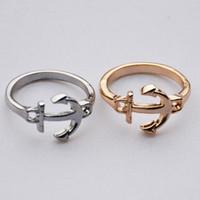 anker-ringe schmuck großhandel-Neues design anker band ringe gold silber farbe anker fingerring mode legierung ring schmuck für frauen großhandel