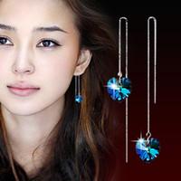 Wholesale Earing Sterling - Korean Style 925 Sterling Silver Earring Heart Of Ocean Blue Crystal Love Tassel Drop Earring Jewelry For Hot Sale Long Dangle line earing