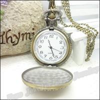 Wholesale Antique 14k Gold Watch Chain - Vintage Imperial crown Patterns Pocket Watches Steampunk Antique Bronze Watch Necklace Chain Clock Friend Gifts 1 pcs 47*68*17mm