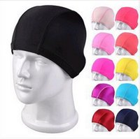 Wholesale Waterproof Swim Caps - swimming caps Candy color Fashion Mens Swimming Cap unisex Nylon cloth Swimming caps Waterproof Diving Swimming Cap Bathing Cap D257 300