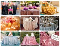 Wholesale Yellow Gray Tablecloth - Sequined Wedding Table Rose Gold Tablecloth Wedding Decorations Sparkly Table Cloth Custom Made