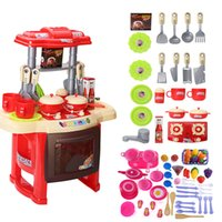 Baby Miniature Kitchen Plastic Pretend Play Comida Brinquedos infantis com música Light Kids Kitchen Cooking Toy Set For Girls Games Hot