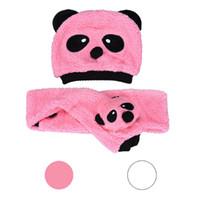 Wholesale Panda Gloves - Wholesale-Mance-Z5 Baby Girls Boys Cotton Velvet Two Pieces Panda Hat Scarves
