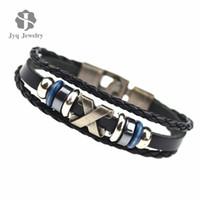 Wholesale Men Bracelet Korea - Wholesale-2015 South Korea Fashion Popular Beaded Wax Rope Stainless Steel Accessories Charm Bracelet Punk Men Jewelry