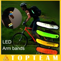 Wholesale Velcro Arm Bands - LED Armbands Reflective Bands Flashing Light Velcro Arm Bands Outdoor Sports Safety ArmBands For Running Cycling Freeshipping DHL