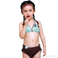 Wholesale Little Girls Pink Swimsuits - 2016 Hot Sale New Style Summer Dress Two Piece Children Swimsuit Little Princess Swimwear Girl Lace Ruffled Flower Bathing Suit
