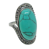 Wholesale turquoise green gemstone for sale - Group buy 2017 Hot sale Vintage Gemstone Rings Elegant Tibetan Rings Fashion Jewelry Vintage Turquoise Rings With Bling Rhinestone