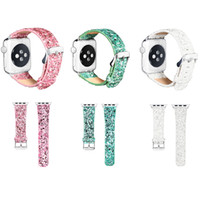 Wholesale White Watches Bling - Christmas Bling Leather Band for Apple Watch 38 42mm Series 1 2 Glitter Powder Shinny Strap Wrist Watch Bands For iWatch