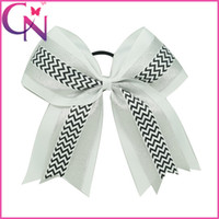 Wholesale Elastic Hair Band Shine - Beautiful Baby Girls Layers White Cheer Bows With Elastic Band Shining Organza Chevron Hair Bows For Cheerleading Girls Ponytail Hair Holder