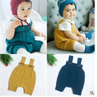 Wholesale korean baby knitted clothes online - baby clothes newborn jumpsuit girl clothes New Korean Fashion Knit infan onesies Cute Spring newborn romper dress C2411