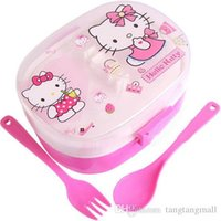 Oferta Especial 2015 Hot Sale Caixa Bento Hello kitty Lunch box Conjuntos de louças Children Cartoon Plastic Lunch Box Fork Spoon Kit
