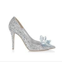 copas de novia al por mayor-Cenicienta zapatos de cristal de tacón alto de las mujeres impresionantes gafas Bling Rhinestone de plata nupcial zapatos de boda de diferentes tamaños fiesta de baile