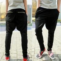 Wholesale Korean Style Harem Pants - Wholesale-Harem Sweatpants New 2015 Fashion Korean Style Baggy Hip Hop Mens Jogger Pants Sarouel Drop Crotch Pants Trousers Sweats