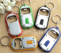 Wholesale Promotion Led Light Key Chain - DHL Shipping Free 200pcs lot 3 in 1 Beer Bottle Opener LED Light Lamp Key Chain Keychain Ring