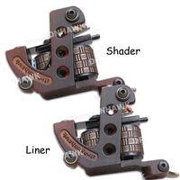 Wholesale Tattoo Frame Steel - 2 pcs Tattoo Machine Gun Liner&Shader Steel Frame Copper Coils WQ4448&4448-1