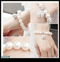 Wholesale Water Pearls Bracelet - 2017 Korean Style Wedding Bracelet Bridal Party Jewelry Faux Pearl Rhinetone Free Size Prom Evening Party Bracelet Bridal Accessories