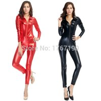 Plus XL Donna Sexy Black Red Leather Latex Zentai Catsuit Wetlook Tuta PVC Stretch Lingerie Catwoman Pole Dance Cosplay 2016