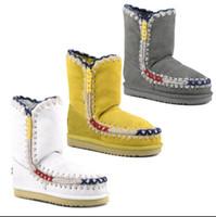 Wholesale Super Platform Boots - 2017 Winter Eskimo Pop Overstitch Snow Mid-Calf Boots Real Fur Material Super Warm 2.5cm Platform EVA Sole Shoes For Women