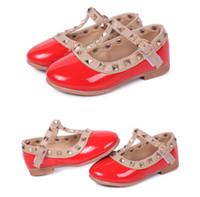 Wholesale Kids Designer Shoes Wholesale - New 2015 Girls Princess Summer Rivet Flats Sandals Casual Children Round Toe Ballet Ballerina Designer Kids Dance Shoes Free Shipping