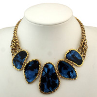 Wholesale resin chunky pendants - Hot Sell Chunky Chains Bib Collars Choker Statement Necklace Women Vintage Jewelry With Acrylic Pendants,N613
