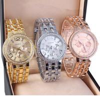 Wholesale Crystal Bling Buckle - 3 Colors Luxury Quartz Diamond Stainless Steel Crystal platinum Watch Unisex Men Women Plated Geneva Bling Ladies Clock wrist Watches
