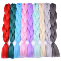 Wholesale only products - Ombre Braiding Blue Green Yellow hair products Pure Red Synthetic High Temperature Fiber Braids Hair Exthension