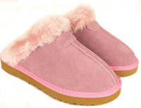 Wholesale Women Cow Slippers - FAST SHIP 2016 new Factory Outlet Australia Classic Women Men Cow Leather Snow Adult Slippers US5-13 Bag Logo pink sandy chestnut chocolate