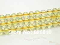 Freeshipping (2 hilos / set) Natural Amarillo Limón cuarzo 6mm Charms lisa redonda cristalina clara al por mayor del grano de pulseras europeas