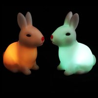 Lumières Couleur Fading Vinyl LED Night Light Blanc Loving Rabbits Shape Lamp Creative Toy CW17