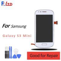 сенсорный дисплей для галактики samsung s3 оптовых-Оригинал для Samsung Galaxy S3 Mini i8190 ЖК-дисплей дигитайзер сенсорный экран заменить темно-синий белый с рамкой сборки 100% тестирование