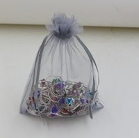 Wholesale Silver Organza Bags Wholesale - Hot Sales ! Silver Gray With Drawstring Organza Gift Bags 7x9cm 9x11cm 13x18cm (b0015)