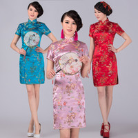 Wholesale Cheongsam Phoenix - Free shipping new design cheongsam dress vintage dragon phoenix printed Qipao Cheongsam Dress Chinese traditional dress for women 6 colors