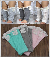 Wholesale Toddler Tight Shorts - 2015 toddler kids leg warmers infant baby hollow out lace Warm feet buttons Cotton short legs boot cuffs kids leggings J090103#