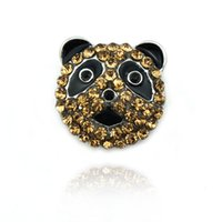 Wholesale Sewing Buttons 18mm - Brand New Fashion 18mm Snap Buttons Yellow Rhinestone Cat Metal Clasps Sewing DIY Bracelet Jewelry Accessories