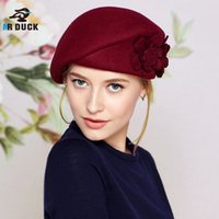 Wholesale Stewardess Top - Wholesale-Top Quality Womens Wool Berets Caps Airline stewardess Caps Hats Flower Great Fall Winter Caps Hats Korea Stylish Hot