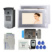 """Wholesale Door Access Control Video Systems - Free Shipping 7"""" Video Door Phone Intercom System 2 Monitors + RFID Access Night vision Doorbell Camera + Electric Control Lock"""