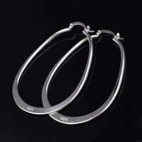 Wholesale Large Earrings For Cheap - Cheap 925 sterling silver plated large hoop earrings TOP quality fashion jewelry for women Free shipping