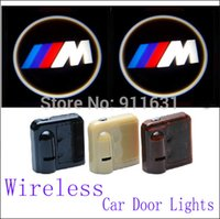 Wholesale Bmw E34 Lights - 2PCS 9TH Wireless Car Led Door Lights For BMW M E34 E36 E39 E46 Car Logo Door Lights Car Projector Welcome Projector Shadow
