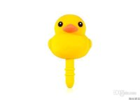 Wholesale Dust Plug Duck - Wholesale-100pcs cartoon kawaii duck dust plug to phone 3.5mm earphone jack plug for iphone sumsang headphones accessories Free shipping