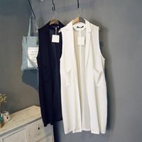 ingrosso maglia chiffona nera-2015 nuove donne di stile estivo casual bianco nero giacca tuta sportiva lunga giacca senza maniche in chiffon cappotto blazer colete feminino FG1511